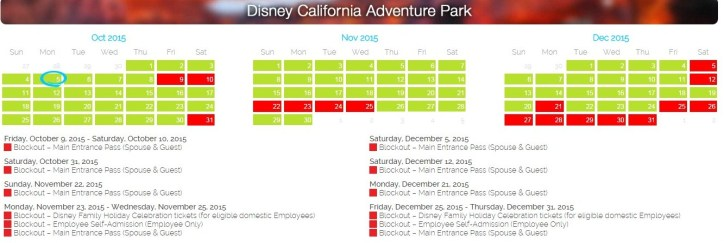 California Adventure Park: Upcoming blackout dates