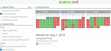 Disneyland black out dates in Perth
