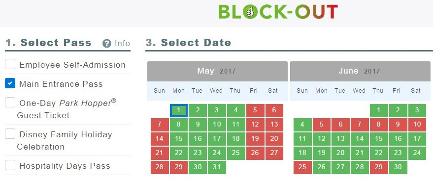 Blockout dates