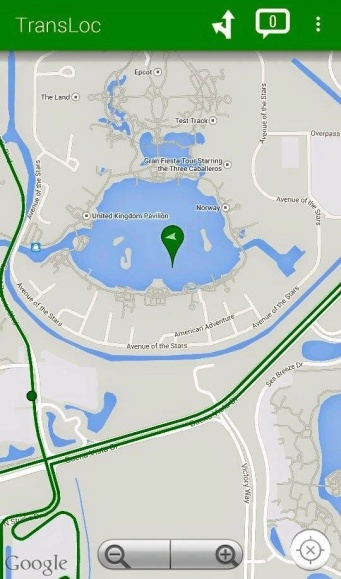 The app is incorrectly showing that the CP bus is in the middle of Friendship Lake at Epcot.