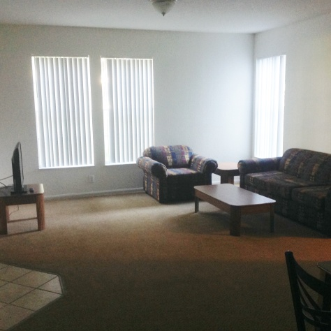 Huge living room/dining room area.  Table seats 8.