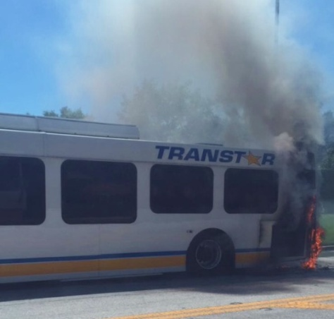 The C bus catching fire in May 2015.  Everyone had to get off the bus and walk back to Vista Way.