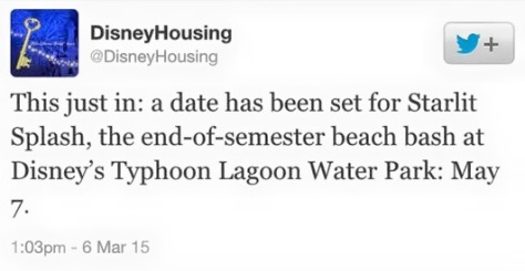 Disney Housing twitting about the event.