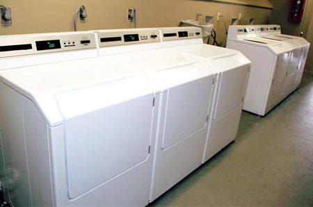 Washers and dryers are located on the ground floor of each building at Vista Way.