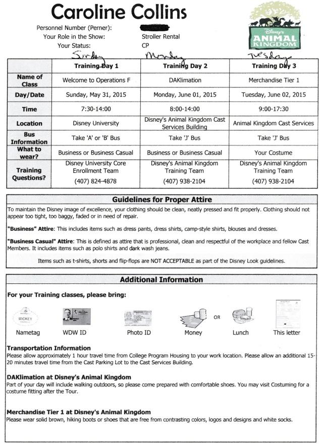 Second week schedule