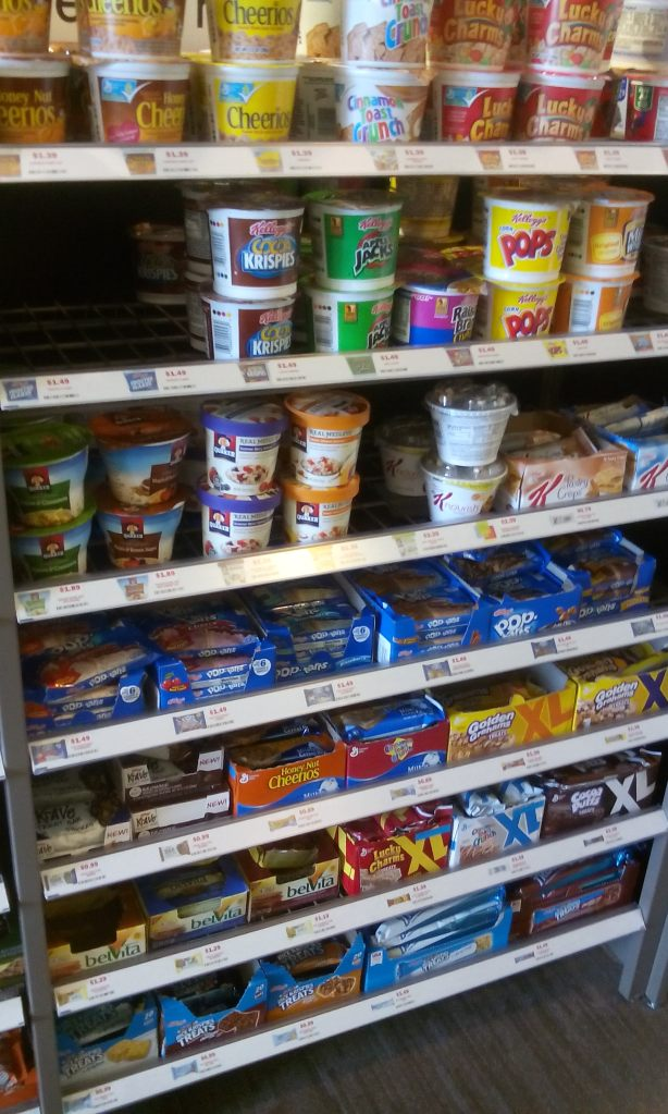 Grab & Go:  single serving items, $2