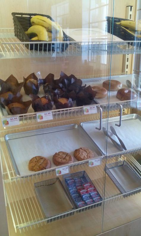Fresh muffins, bagels, cookies, free jellies, $1.39
