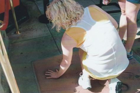 Caroline checking out Marilyn's tiny handprint.