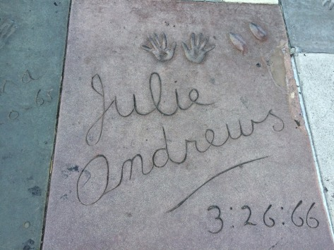 On the Walk of Stars in front of the Chinese Theater.