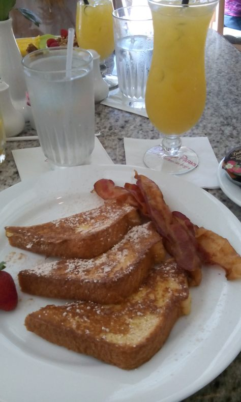 My French Toast with bacon and warmed syrup.