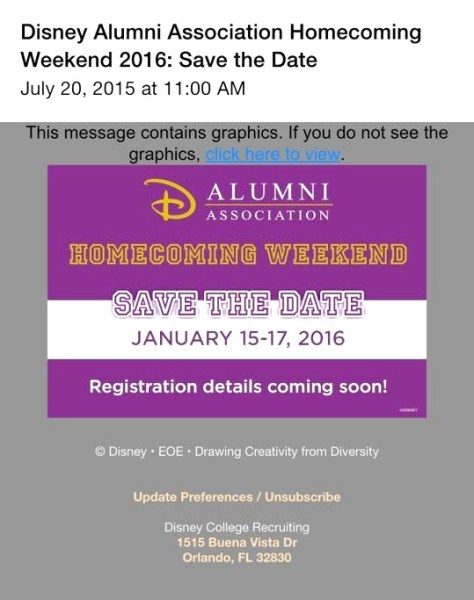 We got a text message from the DAA on July 20, 2015 about the upcoming Homecoming Event.