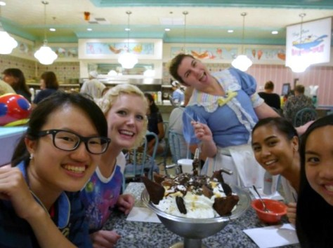 Here's a funny shot, trying to get all of us in the photo! Our waitress was so nice!