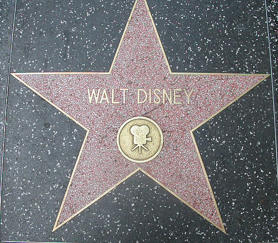 Walt Disney's star on Hollywood's Blvd. Walk of Stars.