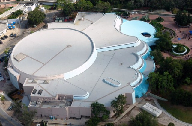 Aerial view of completed pavilion