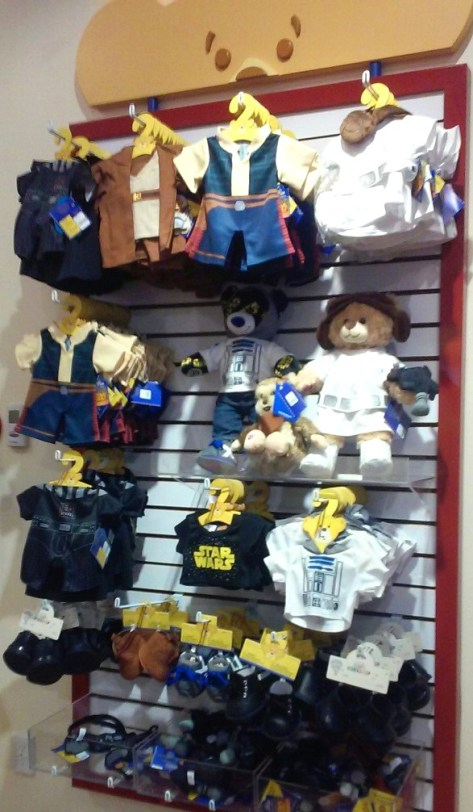 The entire front of the store was Star Wars bears and costumes!