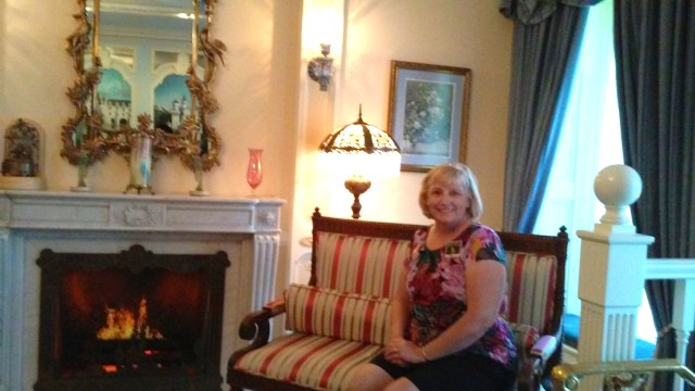 Mom sitting in the Parlor Room, note the