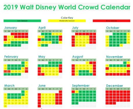 2019-Walt-Disney-World-Crowd-Calendar