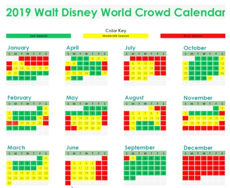 2019-Walt-Disney-World-Crowd-Calendar