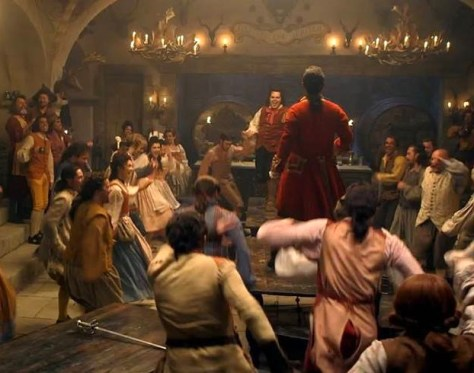 Gaston Luke Evans And LeFou Gosh Gad In Tavern Scene