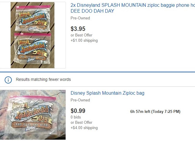 splash mountain baggie ebay