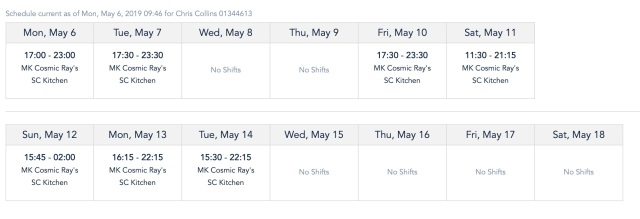 final weekly schedule