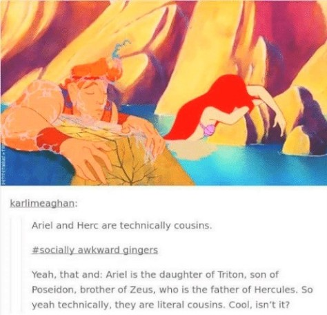 hercules and Ariel are cousins