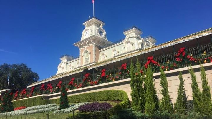 Christmas Magic Kingdom train station
