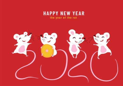 2020 Happy Chinese New Year, the year of the rat. Design concept of funny greeting card with cute characters mouses and their tails look like number 2020. Vector illustration
