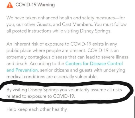 Disney Springs COVID-19 warning