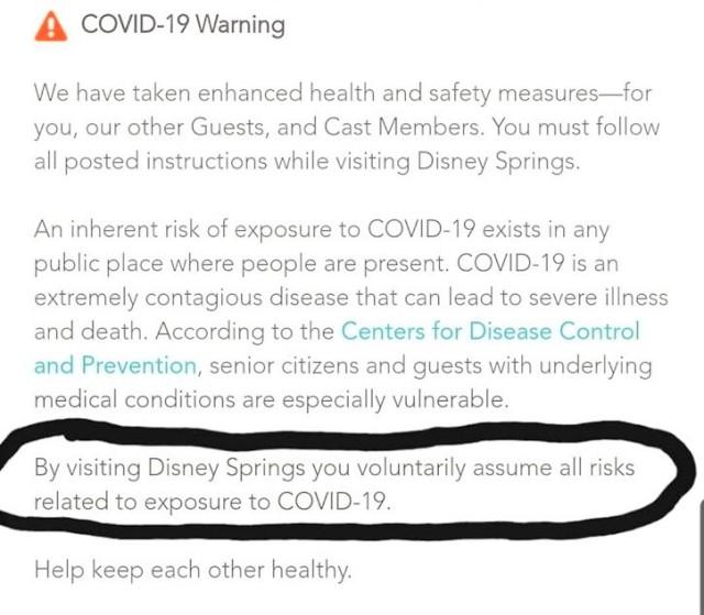 Disney Springs COVID-19 warning
